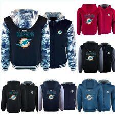 Miami Dolphins Thicken Hoodies Fleece Sweatshirts Hooded Winter Warm Jacket Coat