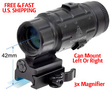 3X MAGNIFIER Red Dot Picatinny Multi-Coated Lens Flip To Side MOUNT REVERSIBLE