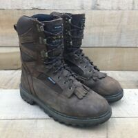 Carolina Mens Kiltie Work Safety Boots Brown Leather Waterproof Lace Up 8.5 D