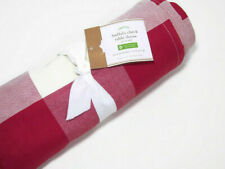 """Pottery Barn Red Buffalo Check Plaid Cotton Square Tablecloth Throw 50"""" X 50"""""""