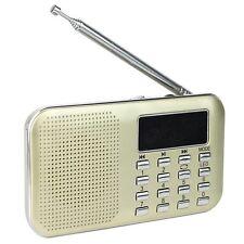 Pocket Digital FM AM Radio MP3 Player Multimedia Speaker w/ Flashlight Golden US