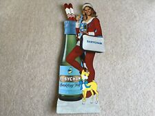 More details for rare c1974 vintage babycham christmas cut out adv showcard lady with skis