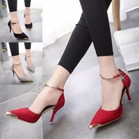 Womens Pointed Toe Ankle Strap Stilettos High Heels Wedding Party Shoes Pumps