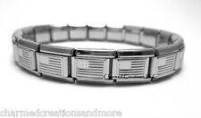 American Flag USA 9mm Italian Charm Shiny Stainless Steel Starter Bracelet