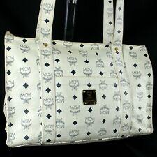 MCM Visetos Coated Canvas Tote Bag Shoulder Purse Leather White