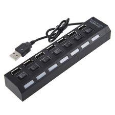7 ports concentrateur USB/Hub USB avec interrupteur ON/OFF Noir N9W6