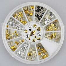 200pc Rhinestone 3D Nail Art Fashion Diamante Glitter Gem Gold and Silver Shapes