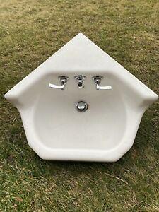 Antique Cast Iron White Porcelain Corner Sink Vintage Bathroom With Faucets