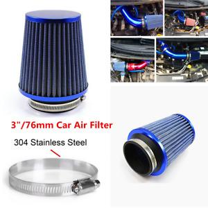 "Racing Air Filter 3""/76mm Mushroom Head Car Filter Flow Intake Blue Accessories"