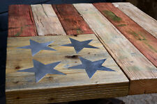 Handmade chunky wooden coffee table in the Stars & Stripes American flag design