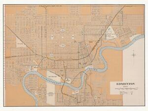 Old Decorative Antique Map of Edmonton Canada Chalifour ca. 1915