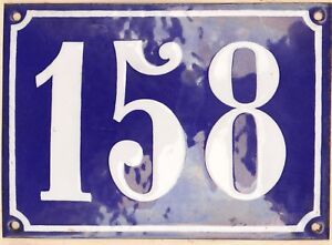 Large old French house number 158 door gate plate plaque enamel steel metal sign
