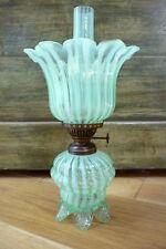 ANTIQUE VICTORIAN VASELINE GLASS KEROSENE OIL LAMP with  SHADE & CHIMNEY V.G.C