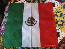100% COTTON MEXICAN FLAG BANDANA, IN GREEN WHITE  THE EAGLE IN CENTER AND RED