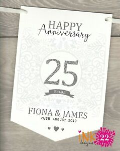 Personalised 25th Wedding Anniversary Silver Party Decoration Banner Bunting