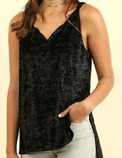 NEW NWT BLACK VELVET SCALLOPED STRAPPY BACK DETAIL TUNIC TANK CAMI TOP UMGEE L