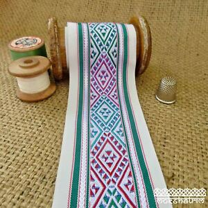 Ethnic Chinese Embroidered Geometric Ribbon Tape Tribal Multicolour M1916