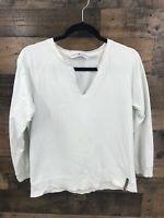 Tommy Hilfiger Jeans Women's White 100% Cotton Popover Top Size M