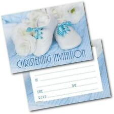 Christening Invitations Baby Shoes Blue Boy Pack of 20 Invites & Envelopes