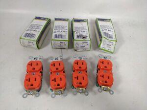 LOT OF 4 Leviton 5362-IG 20A 125V duplex Receptacle, Isolated Ground, Orange-NEW