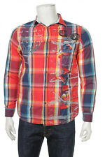 DESIGUAL MEN'S LONG SLEEVE CASUAL SHIRT SIZE S 100% COTTON RED MULTI COLOR