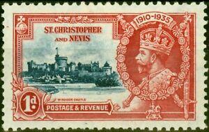 St Christopher & Nevis 1935 1d Dp Blue & Scarlet SG61k Kite & Vertical Log Fi