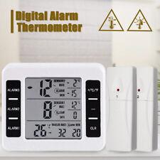 Wireless Digital Freezer Thermometer 2PC Sensor Indoor Outdoor Audible Alarm