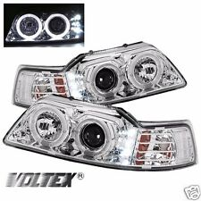1999-2004 FORD MUSTANG LED LIGHT HALO PROJECTOR BAR HEADLIGHTS CHROME LIGHTBAR