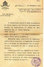 1944 Vaticano 2WW - foglio notizie di prigioniero di guerra italiano in Algeria