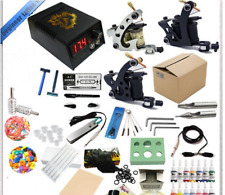 Beginner Tattoo Machine Kit 3 Tattoo Machines Gun Black Ink Set Power Supply