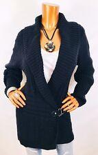 Lauren Ralph Lauren 3X Plus Sweater Cardigan Leather Strap W/ Logo LRL Black V