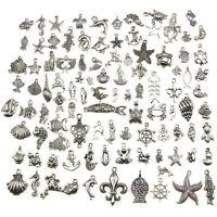 Retro Silber 100x Bulk Lots Mix Ocean Charm Anhänger Schmuck xj