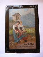 ALPURSA Alpenmilch-Schokolade  Original altes Blechschild um 1910 Selten !