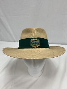 LL Bean Genuine Panama Hat With Green Band Natural Color Size Large Hand Woven