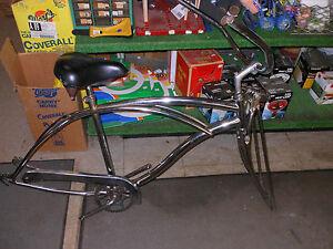 SCHWINN TANK FRAME.JAGUAR CHROME BIKE CRUISER BICYCLE SPRINGER CRANKS BARS SEAT