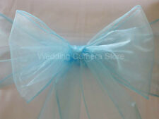 100 Blue Organza Sashes Chair Cover Bows Wedding Sashes