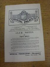 29/10/1956 Crystal Palace V International Manager XI vantaggio [] corrispondenza con