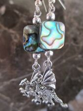 Silver Gothic Winged Dragon Abalone Artisan Handcrafted Earrings