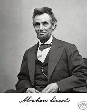 President Abraham Lincoln 1865 Famous Portrait Autograph 11 x 14 Photo Picture