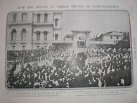 Printed photo Sultan of Turkey leaving Yildiz Palace Istanbul 1908