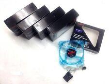 LOT of 5 PC Kentek 80mm 8 cm Blue 4 LED LEDs Case Power Supply Fan 3 /4 Pin New