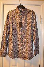 Paul Smith Men's Green/Purple Floral Button Down Slim Fit Shirt Size 17
