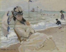 Claude Monet Camille On The Beach In Trouville Canvas Print 16 x 20   #4051