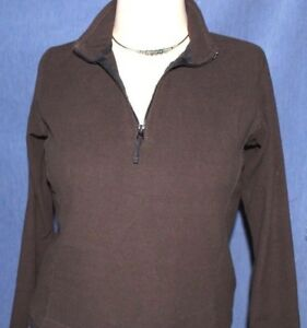 Women's  Lands End   Static Resistant   Brown  1/4 zip   Pullover     small  EUC