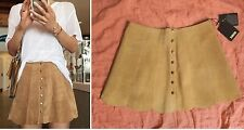 The Reformation Abigail Suede Skirt Palomino 4 S beige scallop light tan button