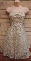 QUIZ CREAM BLACK FLORAL LACE CROCHET BANDEAU SKATER PROM XMAS PARTY DRESS 8 S