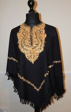 Kashmir Poncho Black with Gold - New - India - Ethnic (item xp16)