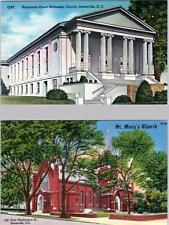 GREENVILLE, South Carolina SC   METHODIST & ST. MARY'S CHURCHES c1940s  Postcard