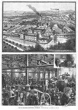 Gaggenau, Eisenwerke, 5 Ansichten und Text auf zwei Seiten, Orig.-Holzstich 1893