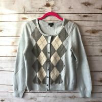 Talbots Medium Baby Blue Argyle Lambswool Pearl Button Cardigan Sweater
